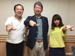 スワラジ収録スタジオで左からボク、佐藤利明さん、夏怜さん