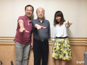 スワラジ収録スタジオで左からボク、辻真先さん、夏怜さん
