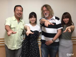 スワラジ収録スタジオにて、左からボク・涼子さん・前川さん・夏怜さん