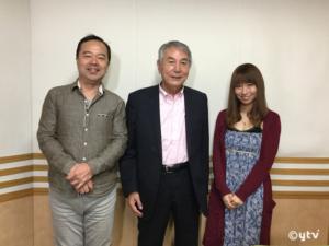 スワラジ収録スタジオにて、左からボク、松谷さん、夏怜さん。