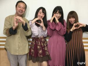 スワラジ収録スタジオにて、左からボク、堤さん、広瀬さん、夏怜さん