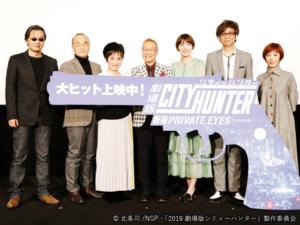 2月9日「TOHOシネマズ新宿」舞台挨拶。左から北条先生・こだま総監督・伊倉さん・神谷さん・飯豊さん・山寺さん・戸田さん。