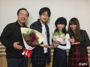 「スワラジ」収録スタジオで。左からボク、林原さん、松井さん、夏怜さん。